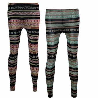 Lookssy Unisex Style Leggings Mixed Print (red/green) set2