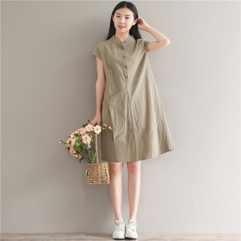 Loose artistic cotton linen Plus-sized mid-length collar dress (Dark green color) (Dark green color)