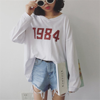 Loose autumn Korean-style long-sleeved t-shirt (White) (White)