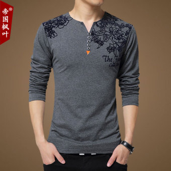 Loose autumn New style Plus-sized long-sleeved t-shirt (Dark gray color)
