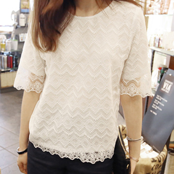 Loose autumn Plus-sized mid-length white chiffon shirt