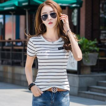 Loose casual cotton female students bottoming shirt white short-sleeved t-shirt (9332 beige striped)