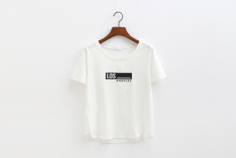 Loose casual female lettered round neck Top T-shirt (Los models--white short-sleeved) (Los models--white short-sleeved)