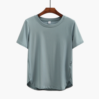 Loose casual female lettered round neck Top T-shirt (Solid color light green T-shirt models short-sleeved) (Solid color light green T-shirt models short-sleeved)
