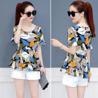 Loose chiffon shirt New style Slimming effect short-sleeved Female Summer (Leaf figure)