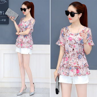 Loose chiffon shirt New style Slimming effect short-sleeved Female Summer (Pink)