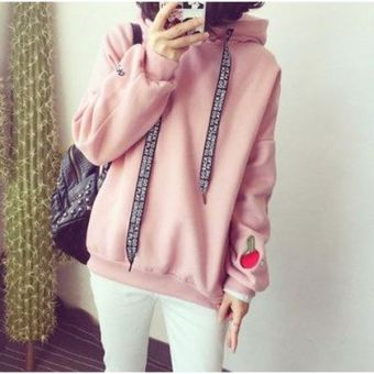 Loose college style Plus velvet thick long-sleeved hooded hoodie (Pink)