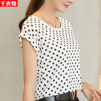 Loose color short-sleeved female Slimming effect small shirt chiffon shirt (B10 # And white polka dot)