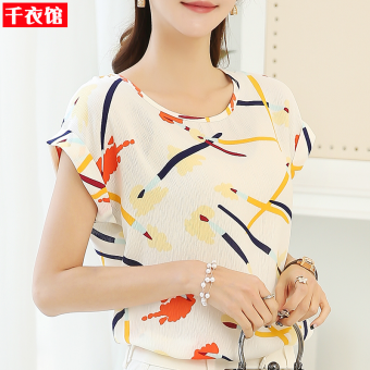 Loose color short-sleeved female Slimming effect small shirt chiffon shirt (Brush)