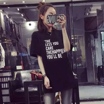 Loose cotton female English letters bottoming shirt Top