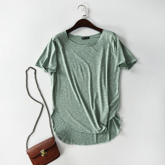 Loose cotton Female Summer Plus-sized long T-shirt (Green) (Green)