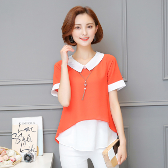 Loose fashion wild female summer doll collar bottoming Top chiffon shirt (Orange color)