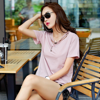 Loose female Plus-sized Short sleeve Top summer short-sleeved t-shirt