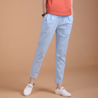 Loose high-waisted stretch pants feet casual pants (Sky blue color) (Sky blue color)