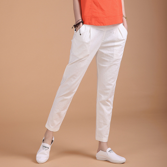 Loose high-waisted stretch pants feet casual pants (White) (White)