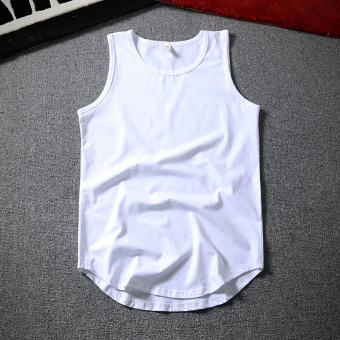 Loose hip hop summer fitness basketball vest sleeveless vest (New style solid color vest white) (New style solid color vest white)