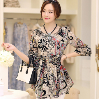 Loose horn sleeve female Print long section Women's Top floral chiffon shirt (Beige)