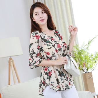 Loose horn sleeve female Print long section Women's Top floral chiffon shirt (Color)