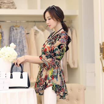 Loose horn sleeve female Print long section Women's Top floral chiffon shirt (Orange)