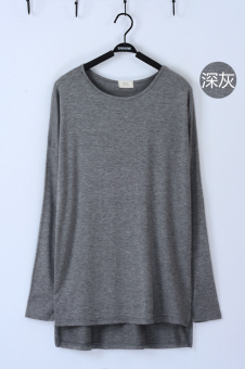 Loose in Europe and America modal long-sleeved mid-length base shirt T-shirt (Long sleeves slit T-shirt dark gray) (Long sleeves slit T-shirt dark gray)