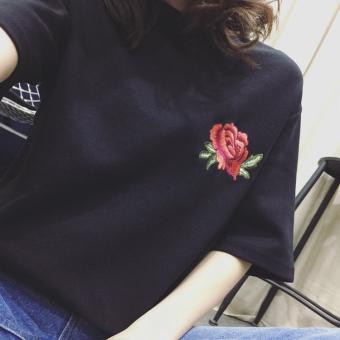 Loose indie embroidered short sleeved female T-shirt (Black) (Black)