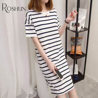 Loose Korean cotton female short-sleeved dress long section T-shirt (White striped)