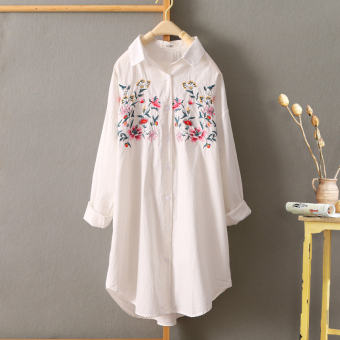 Loose Korean female mid-length Plus-sized Shirt shirt (Butterfly Qiang Wei embroidered Models)
