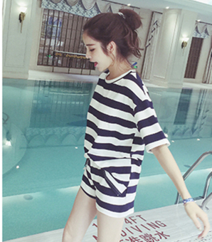 Loose Korean female student Short sleeve Top Striped short sleeved t-shirt (Black [T-shirt to sell]) (Black [T-shirt to sell])