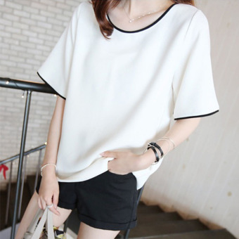 Loose Korean Plus-sized short-sleeved round neck t-shirt female Top (White)