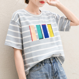 Loose Korean-style black and white female striped Short sleeve Top T-shirt (028 blue and white striped)