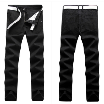 Loose Korean-style black men Slim fit pants autumn casual pants (06 Black)
