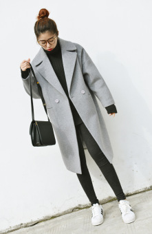 Loose Korean-style cocoon mid-length thick woolen coat (Gray)