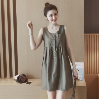 Loose Korean-style cotton linen high-waisted round neck vest skirt sleeveless doll dress (Dark green color) (Dark green color)