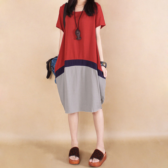 Loose Korean-style cotton linen slimming short sleeved dress medium-length dress (Red) (Red)