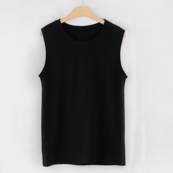 Loose Korean-style cotton long section sleeveless Top T-shirt (Black)