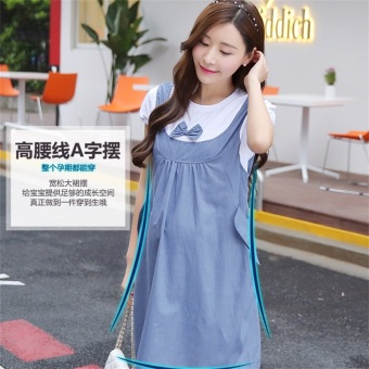 Loose Korean-style cotton mid-length maternity dress Dress (Blue short sleeved) (Blue short sleeved)