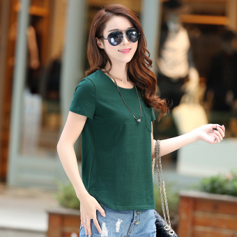 Loose Korean-style cotton women bottoming shirt summer short-sleeved t-shirt (Dark green color)