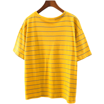 Loose Korean-style cotton yellow female bottoming Top T-shirt
