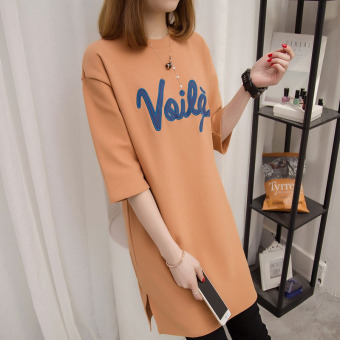 Loose Korean-style embroidery female Plus-sized T-shirt summer New style dress (5988 Orange #)
