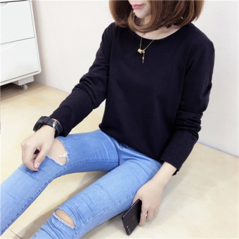 Loose Korean-style female New style long-sleeved Top T-shirt (Black)