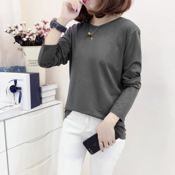Loose Korean-style female New style long-sleeved Top T-shirt (Dark Grey)