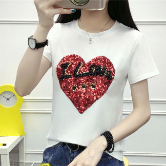 Loose Korean-style female New style summer white bottoming shirt sequined short-sleeved t-shirt (White)