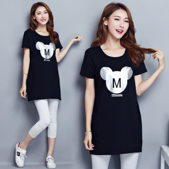 Loose Korean-style female Plus-sized on the women's bottoming shirt T-shirt (6003 black)