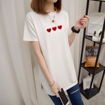 Loose Korean-style female Plus-sized short-sleeved Top T-shirt (Pearl White)