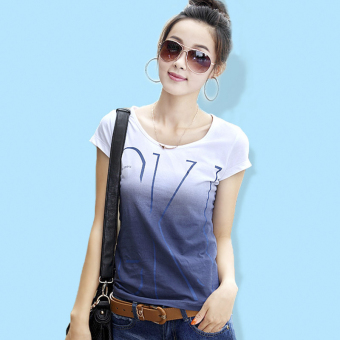 Loose Korean-style female Plus-sized Slimming effect women's Top T-shirt (Gradient blue)