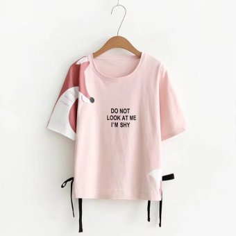 Loose Korean-style female round neck students Short sleeve Top T-shirt