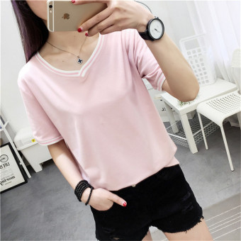 Loose Korean-style female short-sleeved the New style bottoming shirt T-shirt (173 thread v-neck-Lotus Root Starch)