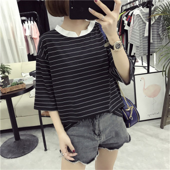 Loose Korean-style female slimming V-neck Top Striped short sleeved t-shirt (805 * Black) (805 * Black)