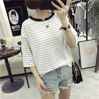 Loose Korean-style female slimming V-neck Top Striped short sleeved t-shirt (805 white) (805 white)