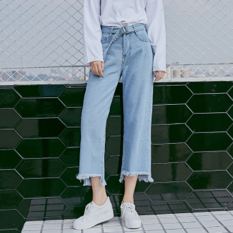 Loose Korean-style female student ankle-length pants high-waisted denim pants (Light blue)